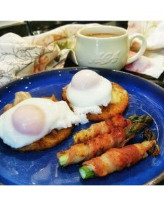 Asparagus Wrapped in Bacon on Rosti Beds with Poached Eggs