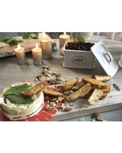 Boxed baked camembert with gin and orange cranberries, toasted focaccia dipping fingers and a scattering of crushed nuts