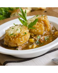Braised Beef with Mushrooms and Horseradish Dumplings
