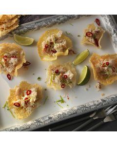 Parmesan Crisps with Zesty Crab Canapé