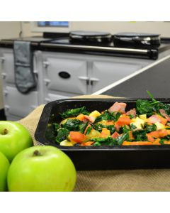 Apple, sweet potato, spinach and bacon salad