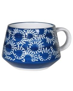 Set of Four Blue and White Mugs