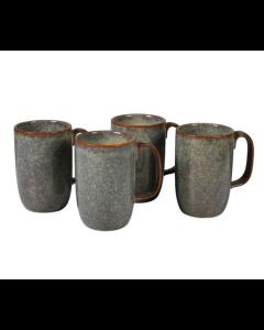 Set of Four Ceramic Brown Mugs