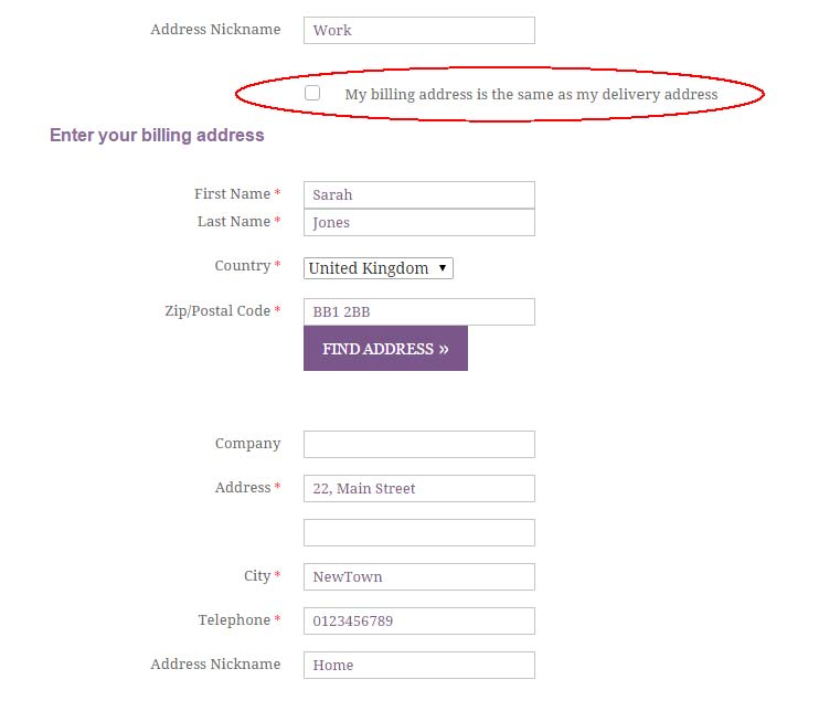 Different Billing and Delivery Addresses